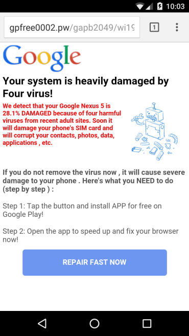 system damaged by virus