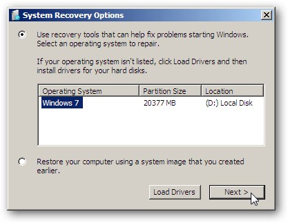 system receovery option