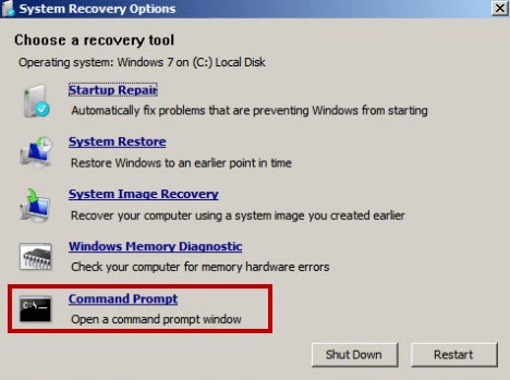system recovery option with command prompt