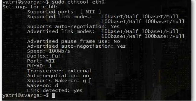 wake on lan in linux via cmd