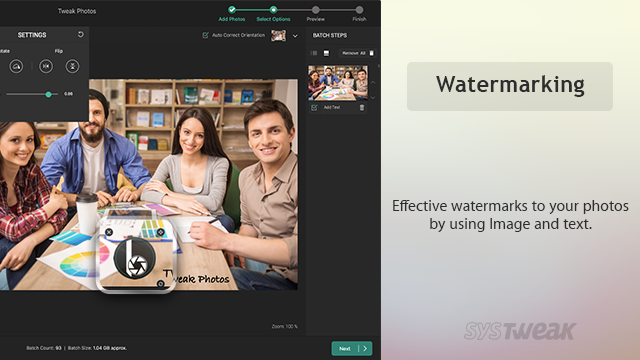watermarking in tweak photos smart bath photo editor tool