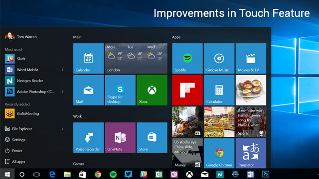 windows 10 impvoe touch feature