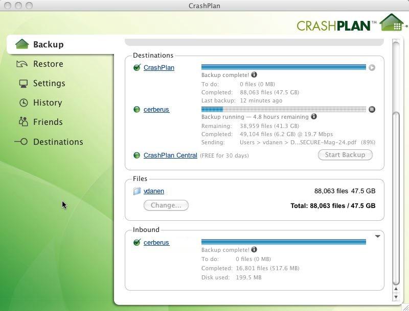 Crashplan tool to backup online