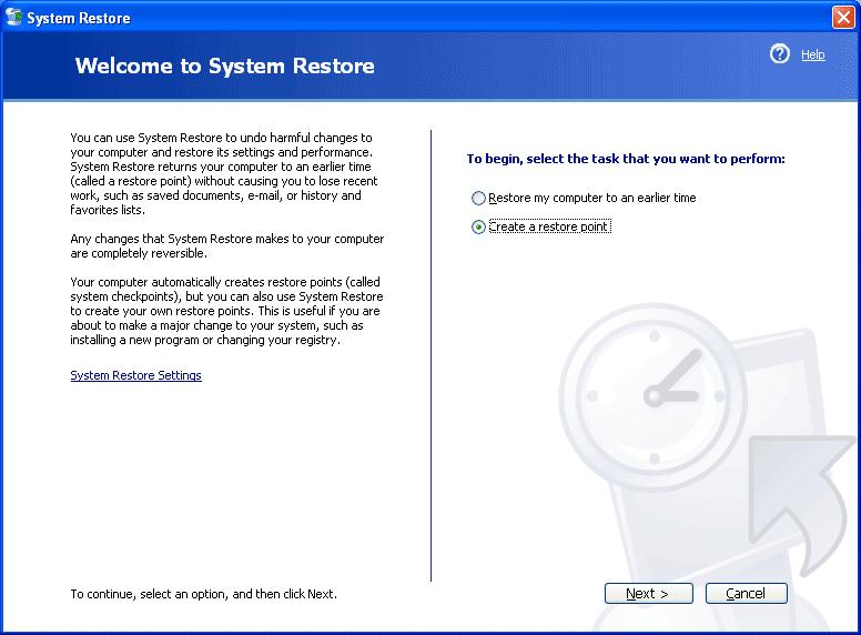 Create A Restore Point On Windows XP-4