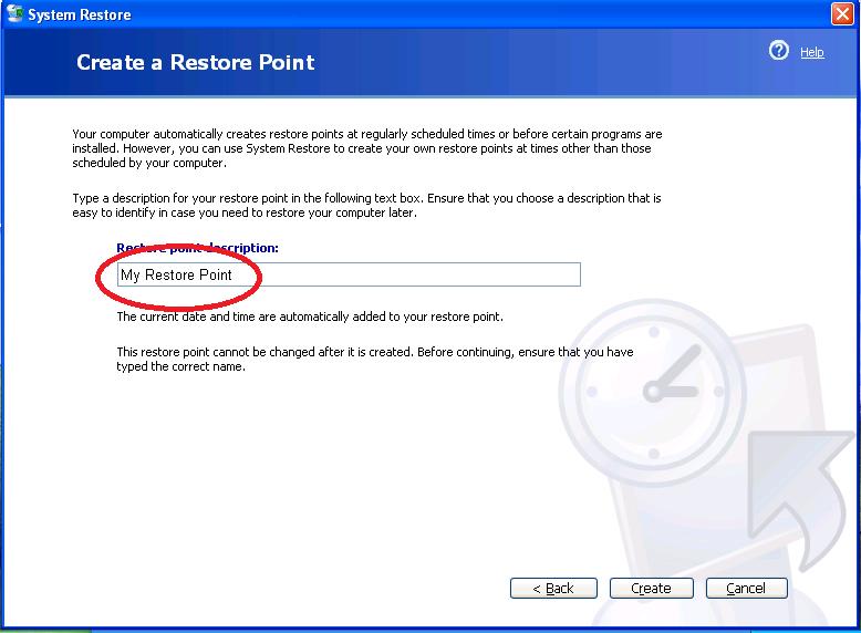 Create A Restore Point On Windows XP-5