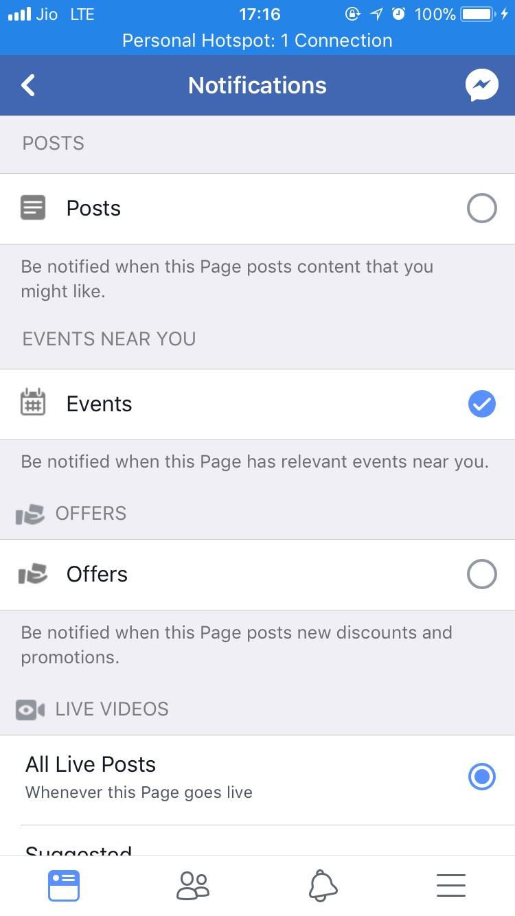 facebook page notification