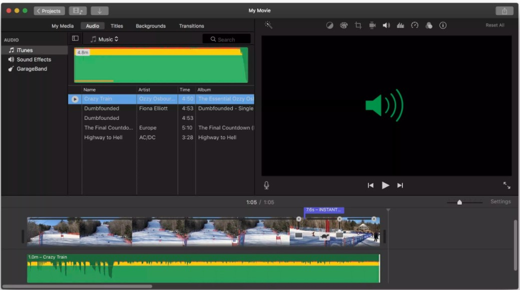 Add a Soundtrack of Your Choice imovie