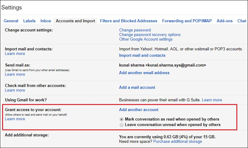 Grant access to your account gmail