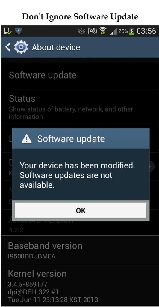 Not keeping phones software up to date