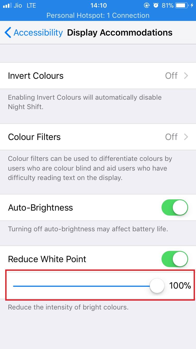 Reduce 100% white point