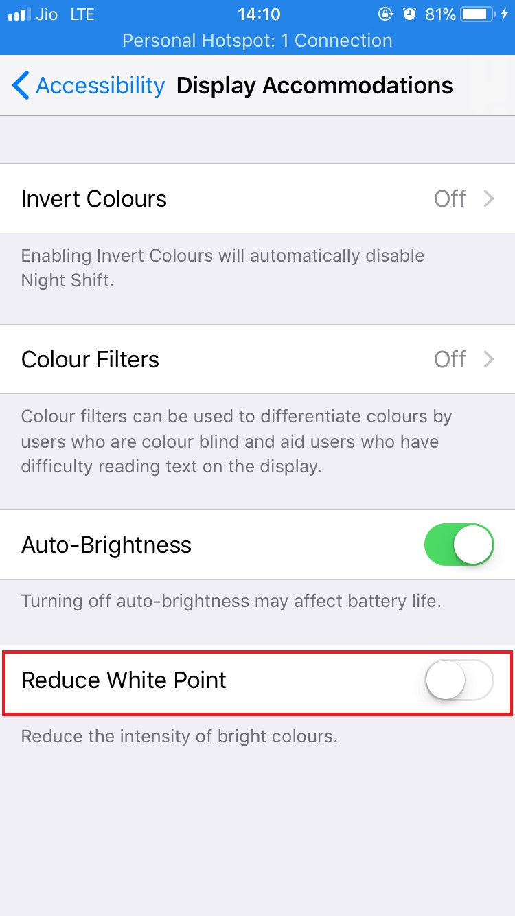 Reduce white point iPhone