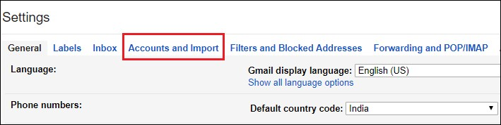 accounts and import gmail
