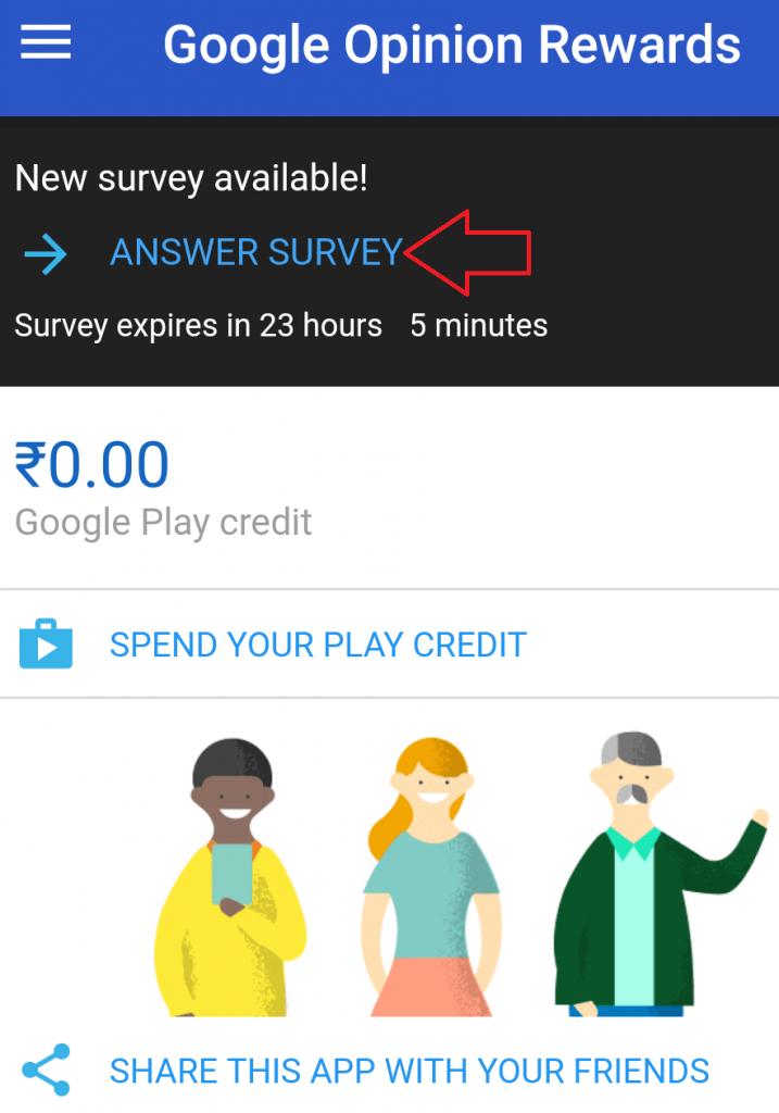 answer survey on google opinion rewards apps
