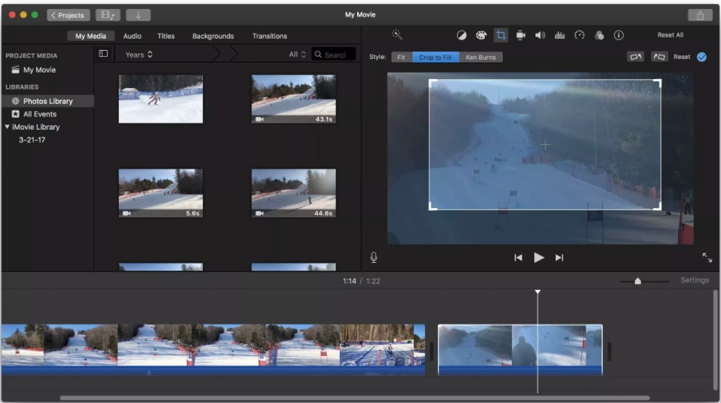 crop to zoom in videos in imovie