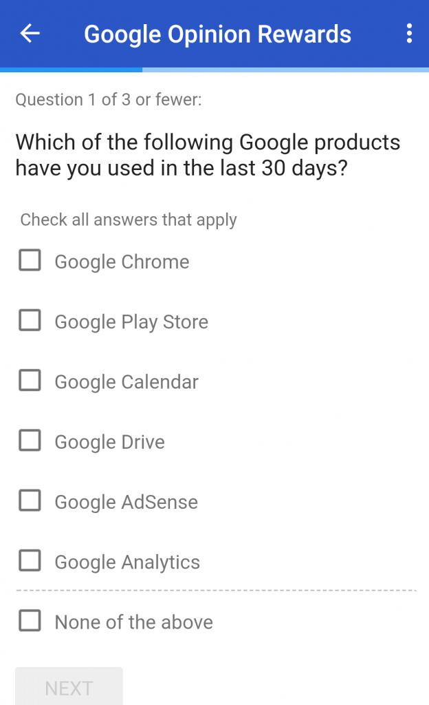 google question on app