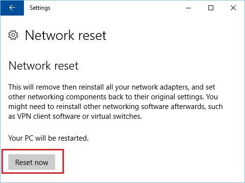 windows 10 reset now