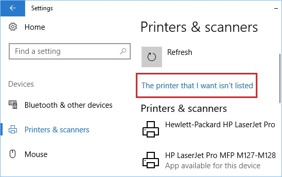 windows 10 settings the printer that i want isn't listed
