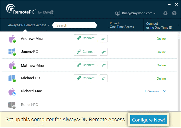 1RemotePC- TeamViewer alternative