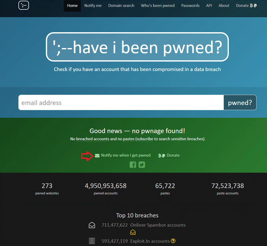 Get Help from Have I Been Pwned 1