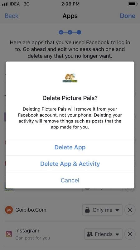 Remove Third-party Apps from Facebook App on iPhone 7