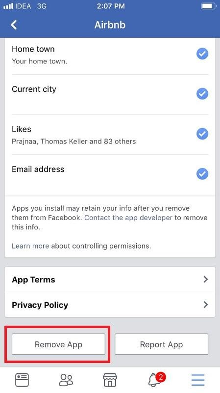 Remove Third-party Apps from Facebook App on the iPhone 10