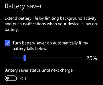 Turn on power saver