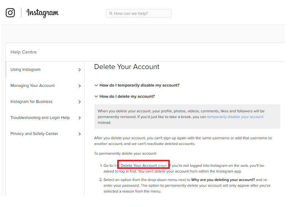 instagram delete my account page