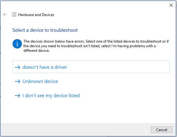 device troubleshoot