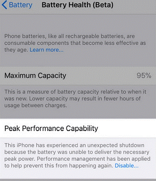peak performance capacity 95