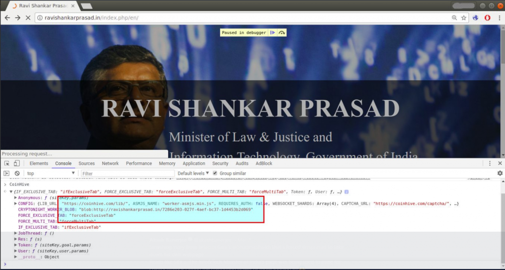 ravishankar prasad website crypto