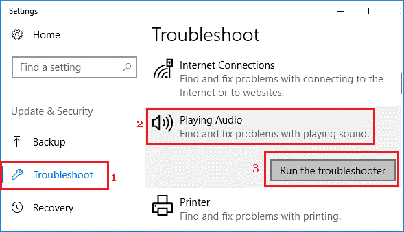 troubleshoot for sound
