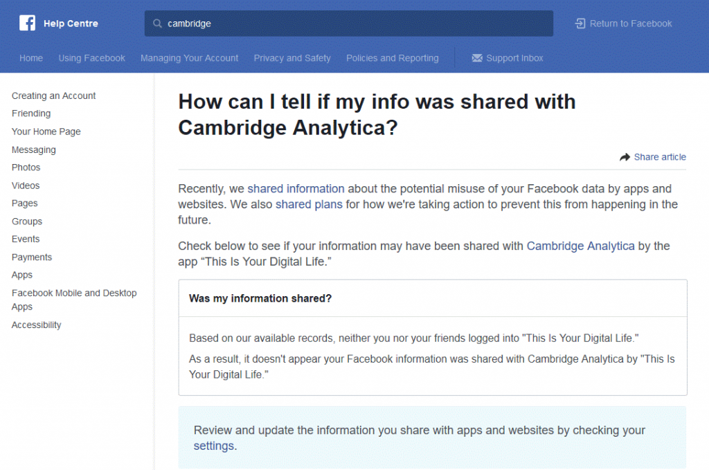 Has Your Facebook Data Been Shared with Cambridge Analytica
