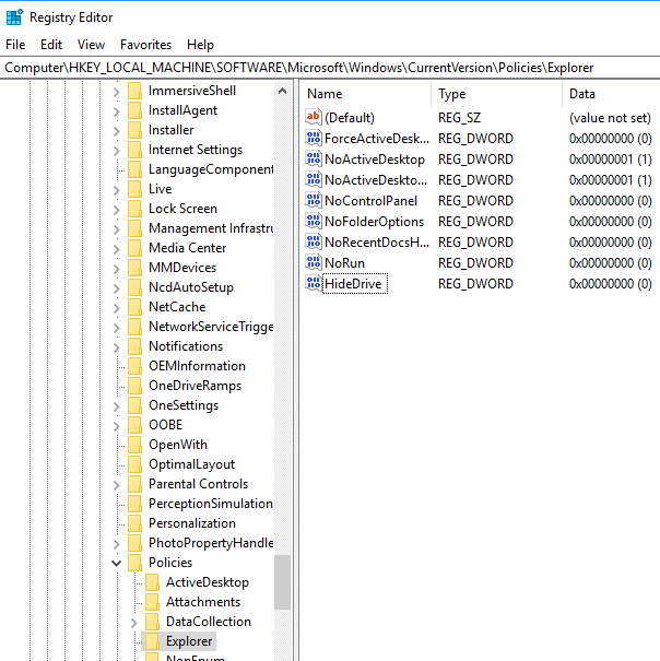 Hide the Drive Using Registry Editor5