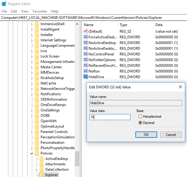 Hide the Drive Using Registry Editor6