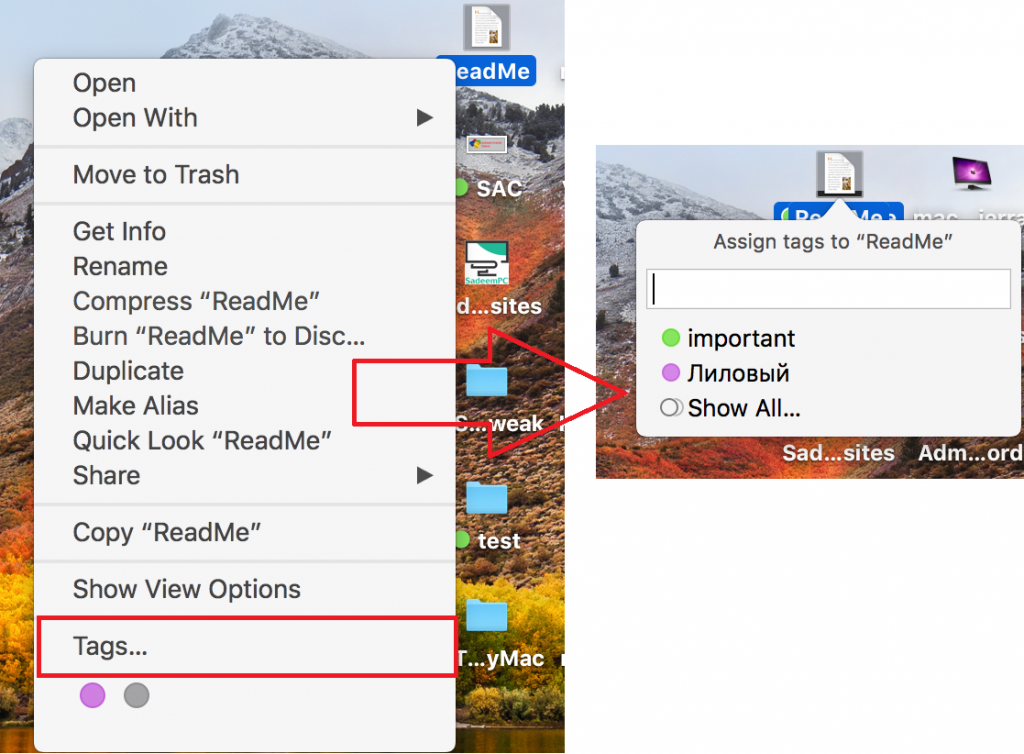 Tagging from the Context Menu