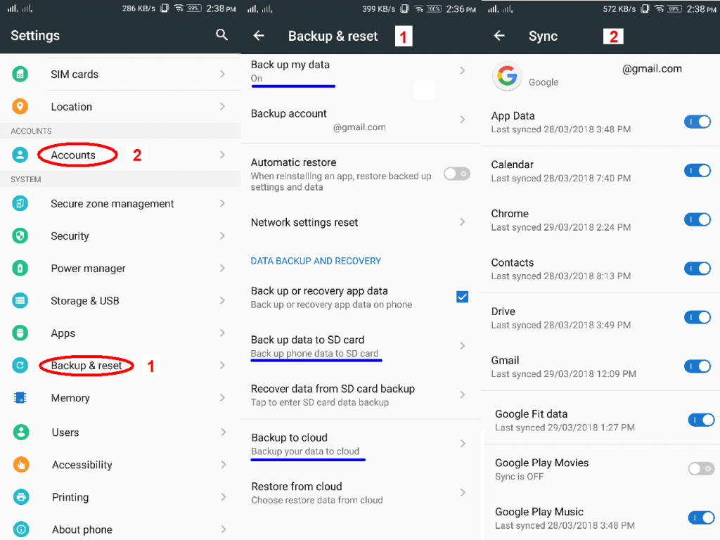 backup reset factory android