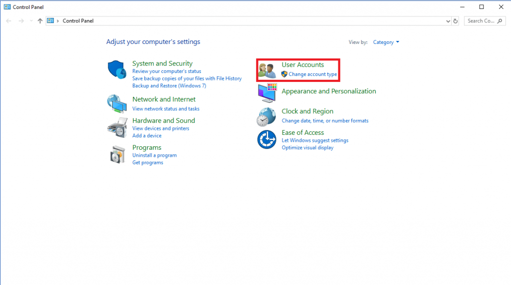 Change The Account Type on Windows 10 With User Accounts 1