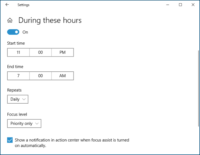 How to Set Schedules on Focus Assist-2