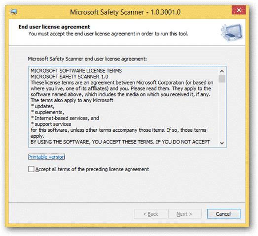 Microsoft Safety Scanner 1.0