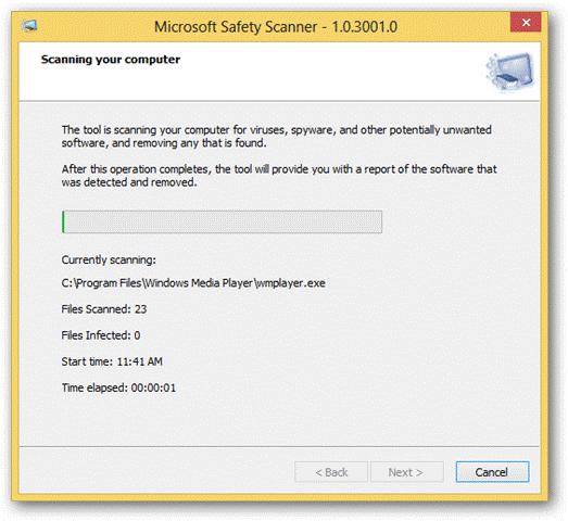 Microsoft Safety Scanner scanning