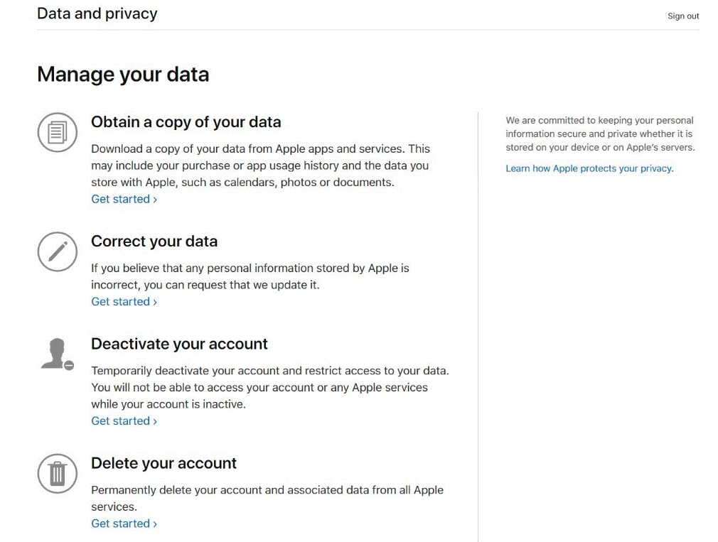 Obtain a copy of your data