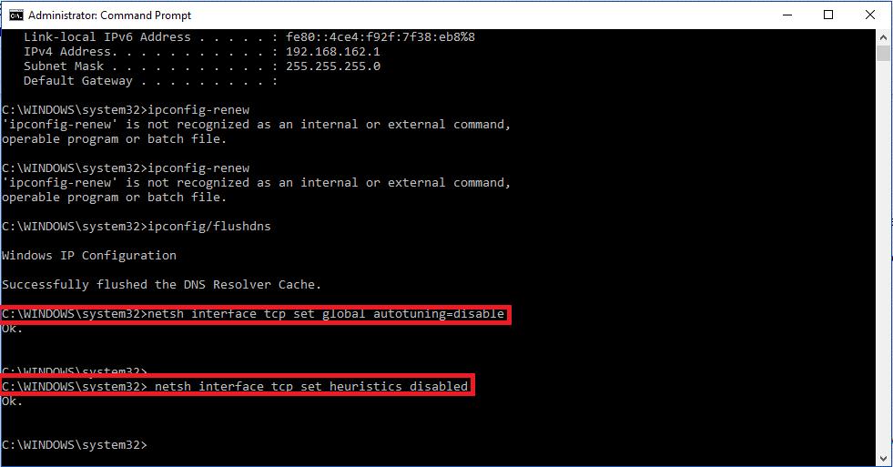 Using netsh Interface TCP command