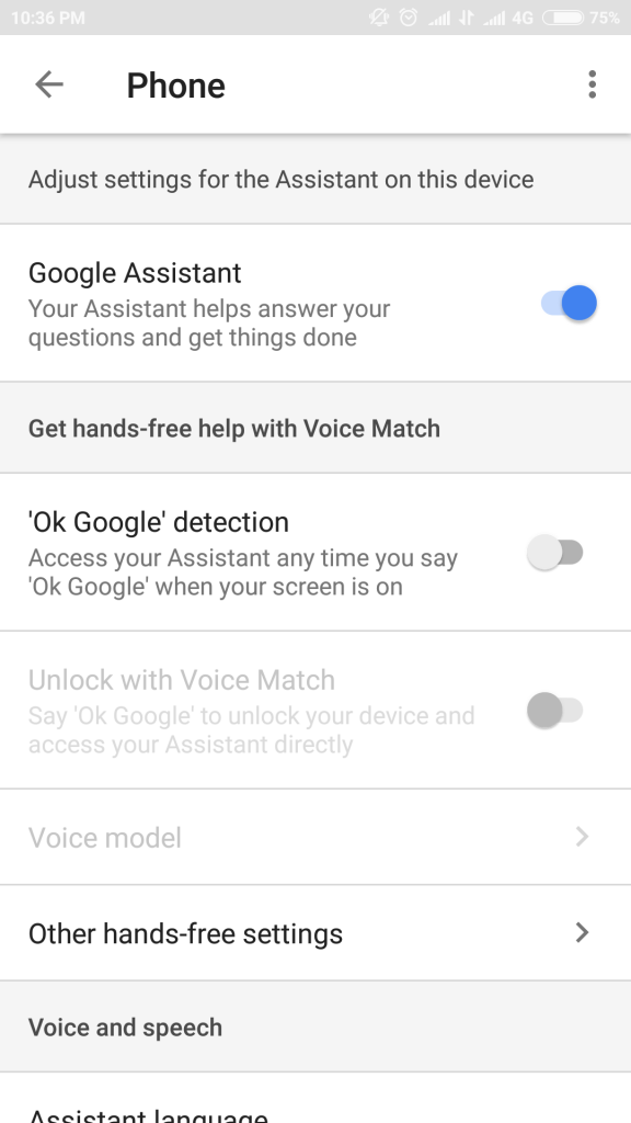 google assistant on or off