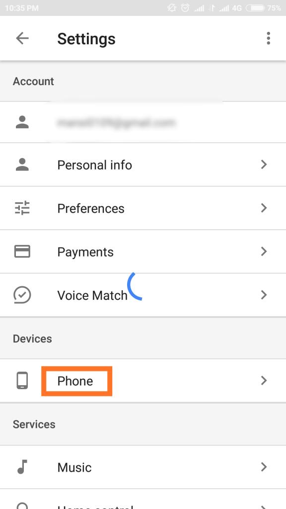 phone in under google settings