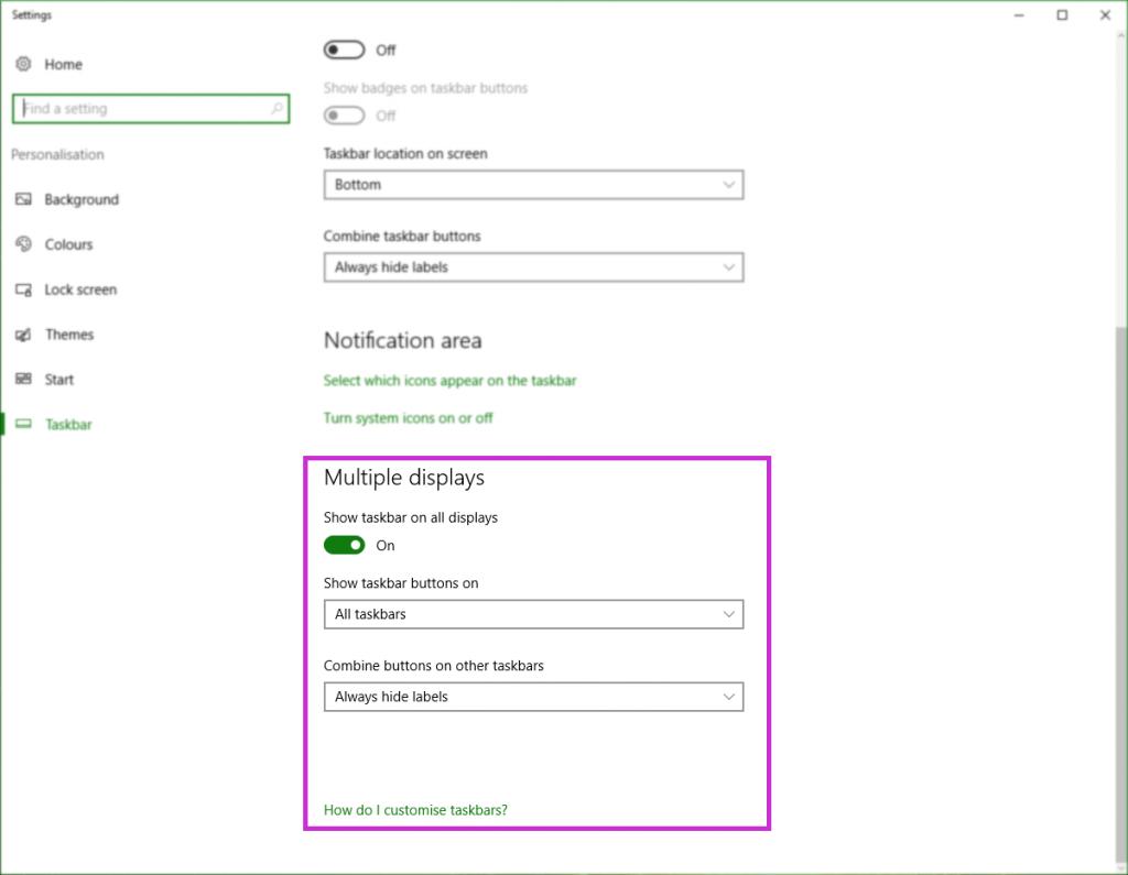 Hide the Taskbar on Multi-Displays