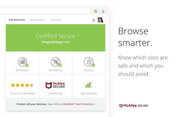 McAfee SECURE Safe Browsing