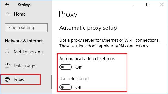 Proxy setup