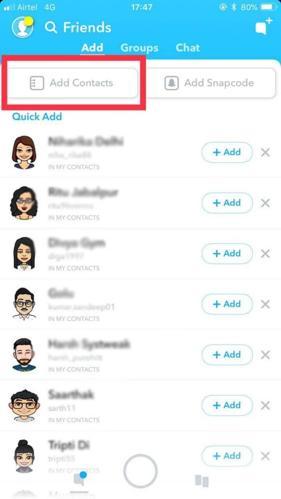 add contacts Snapchat