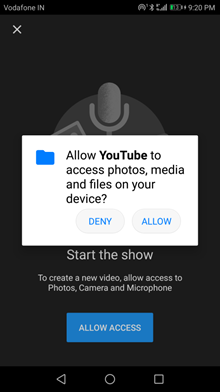 allow youtube to access permmission
