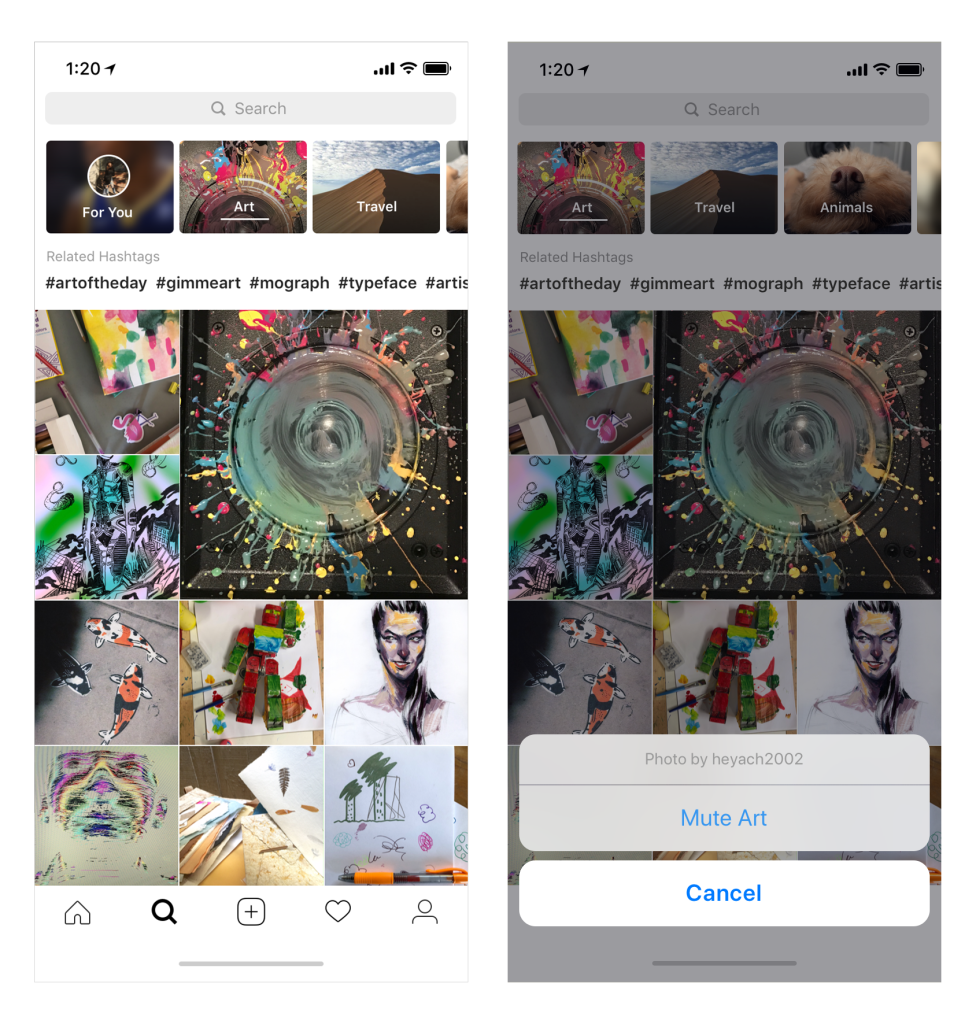 new design and topic explorer in instagram